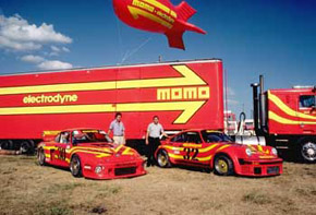 Porsche 934 with MOMO 935 race car, trailer and blimp